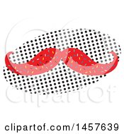 Clipart Of A Pop Art Mustache Over A Halftone Oval Royalty Free Vector Illustration by Cherie Reve