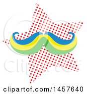 Clipart Of A Pop Art Mustache Over A Halftone Star Royalty Free Vector Illustration by Cherie Reve