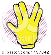 Clipart Of A Pop Art Styled Yellow Victory Hand Over A Halftone Circle Royalty Free Vector Illustration by Cherie Reve