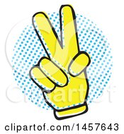 Clipart Of A Pop Art Styled Yellow Peace Hand Over A Halftone Circle Royalty Free Vector Illustration by Cherie Reve