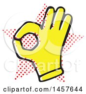 Clipart Of A Pop Art Styled Yellow Ok Hand Over A Halftone Star Royalty Free Vector Illustration by Cherie Reve