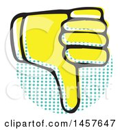 Clipart Of A Pop Art Styled Yellow Thumb Down Hand Over A Halftone Circle Royalty Free Vector Illustration by Cherie Reve