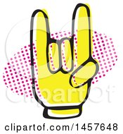 Clipart Of A Pop Art Styled Yellow Rock On Hand Over A Halftone Oval Royalty Free Vector Illustration by Cherie Reve