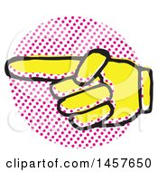 Clipart Of A Pop Art Styled Yellow Pointing Hand Over A Halftone Circle Royalty Free Vector Illustration