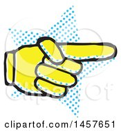 Clipart Of A Pop Art Styled Yellow Pointing Hand Over A Halftone Star Royalty Free Vector Illustration by Cherie Reve