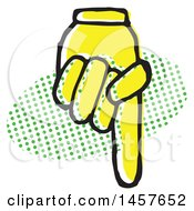 Clipart Of A Pop Art Styled Yellow Hand Pointing Down Over A Halftone Oval Royalty Free Vector Illustration by Cherie Reve