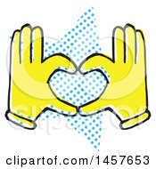 Clipart Of Pop Art Styled Yellow Hands Forming A Heart Over A Halftone Star Royalty Free Vector Illustration by Cherie Reve