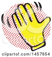 Clipart Of A Pop Art Styled Yellow Waving Hand Over A Halftone Circle Royalty Free Vector Illustration by Cherie Reve