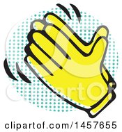 Clipart Of Pop Art Styled Yellow Clapping Hands Over A Halftone Circle Royalty Free Vector Illustration by Cherie Reve
