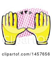 Clipart Of Pop Art Styled Yellow Hands Over A Halftone Oval Royalty Free Vector Illustration by Cherie Reve