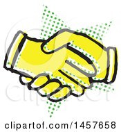 Clipart Of A Pop Art Styled Yellow Hand Shake Over A Halftone Star Royalty Free Vector Illustration by Cherie Reve