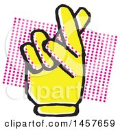 Clipart Of A Pop Art Styled Yellow Hand With Crossed Fingers Over A Halftone Rectangle Royalty Free Vector Illustration by Cherie Reve