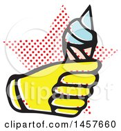 Clipart Of A Pop Art Styled Yellow Hand Holding An Ice Cream Cone Over A Halftone Star Royalty Free Vector Illustration by Cherie Reve