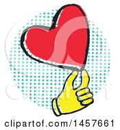 Clipart Of A Pop Art Styled Yellow Hand Holding A Heart Over A Halftone Circle Royalty Free Vector Illustration by Cherie Reve