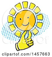 Clipart Of A Pop Art Styled Yellow Hand Holding A Sun Over A Halftone Oval Royalty Free Vector Illustration by Cherie Reve