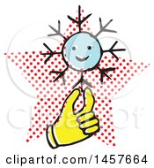 Clipart Of A Pop Art Styled Yellow Hand Holding A Snowflake Over A Halftone Star Royalty Free Vector Illustration