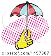 Clipart Of A Pop Art Styled Yellow Hand Holding An Umbrella Over A Halftone Oval Royalty Free Vector Illustration by Cherie Reve