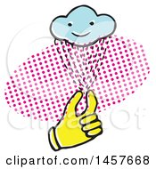 Clipart Of A Pop Art Styled Yellow Hand Holding A Rain Cloud Over A Halftone Oval Royalty Free Vector Illustration by Cherie Reve