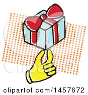 Clipart Of A Pop Art Styled Yellow Hand Holding A Gift Over A Halftone Rectangle Royalty Free Vector Illustration by Cherie Reve
