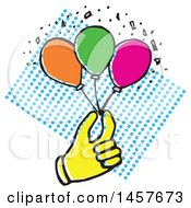 Clipart Of A Pop Art Styled Yellow Hand Holding Party Balloons Over A Halftone Circle Rectangle Royalty Free Vector Illustration by Cherie Reve