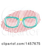 Clipart Of A Pop Art Pair Of Glasses Over A Halftone Oval Royalty Free Vector Illustration