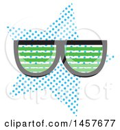 Clipart Of A Pop Art Pair Of Shades Over A Halftone Oval Royalty Free Vector Illustration