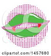 Clipart Of Pop Art Vampire Lips Over A Halftone Circle Royalty Free Vector Illustration by Cherie Reve