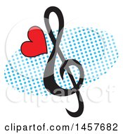 Pop Art Heart And Clef Note Over A Halftone Oval