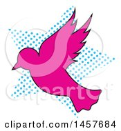 Clipart Of A Pop Art Dove Over A Halftone Star Royalty Free Vector Illustration by Cherie Reve