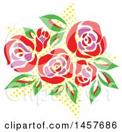 Clipart Of A Pop Art Bouquet Of Roses Over A Halftone Star Royalty Free Vector Illustration