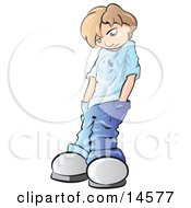 Sad Or Depressed Blond Boy Looking Down And Shoving His Hands Deep In His Jean Pockets Clipart Illustration