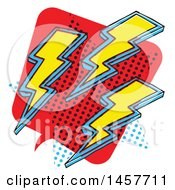 Clipart Of A Comic Styled Pop Art Lightning Word Bubble Royalty Free Vector Illustration
