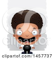 Poster, Art Print Of 3d Happy Black Boy Waiter Over Strokes