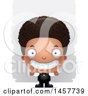 Poster, Art Print Of 3d Grinning Black Boy Waiter Over Strokes
