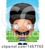 Clipart Of A 3d Happy Black Boy Referee Over Strokes Royalty Free Vector Illustration