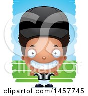 Clipart Of A 3d Grinning Black Boy Referee Over Strokes Royalty Free Vector Illustration