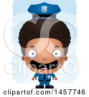 Clipart Of A 3d Happy Black Boy Police Officer Over Strokes Royalty Free Vector Illustration