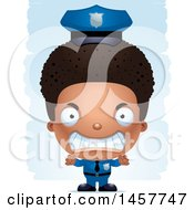 Clipart Of A 3d Mad Black Boy Police Officer Over Strokes Royalty Free Vector Illustration
