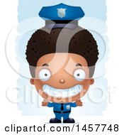 Poster, Art Print Of 3d Grinning Black Boy Police Officer Over Strokes