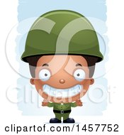 Poster, Art Print Of 3d Grinning Black Boy Army Soldier Over Strokes Army Soldier Over Strokes