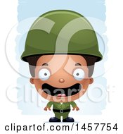 Poster, Art Print Of 3d Happy Black Boy Army Soldier Over Strokes Army Soldier Over Strokes