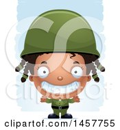 Clipart Of A 3d Grinning Black Girl Army Soldier Over Strokes Royalty Free Vector Illustration