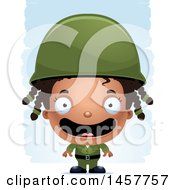 Clipart Of A 3d Happy Black Girl Army Soldier Over Strokes Royalty Free Vector Illustration