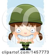 Clipart Of A 3d Grinning White Girl Army Soldier Over Strokes Royalty Free Vector Illustration