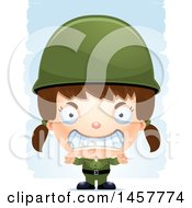 Clipart Of A 3d Mad White Girl Army Soldier Over Strokes Royalty Free Vector Illustration