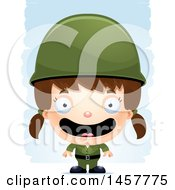 Clipart Of A 3d Happy White Girl Army Soldier Over Strokes Royalty Free Vector Illustration