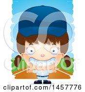 Poster, Art Print Of 3d Grinning White Girl Baseball Player Over Strokes