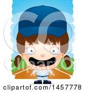 Poster, Art Print Of 3d Happy White Girl Baseball Player Over Strokes
