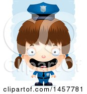 3d Happy White Girl Police Officer Over Strokes