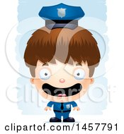 3d Happy White Boy Police Officer Over Strokes